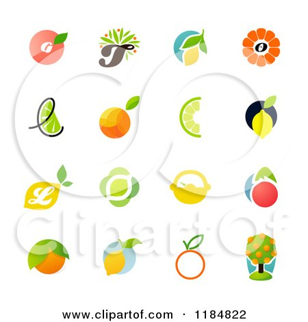 Clipart of Citrus Fruit Designs - Royalty Free Vector Illustration by elena