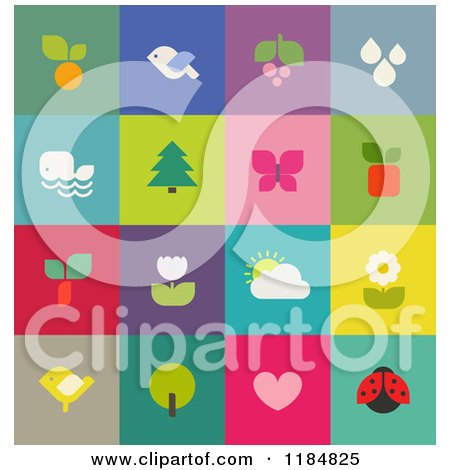 Clipart of Colorful Nature and Wildlife Icons - Royalty Free Vector Illustration by elena