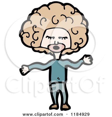 Cartoon of a Man with a Big Afro - Royalty Free Vector Illustration by lineartestpilot