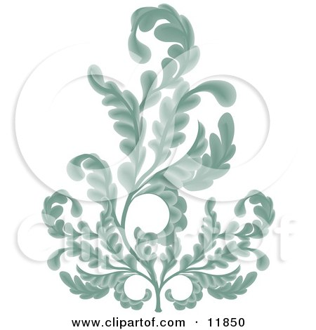 Ornate Turquoise Branches Clipart Illustration