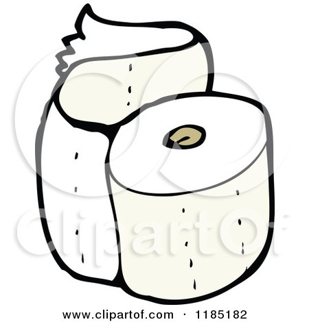 Cartoon of a Roll of Toilet Paper - Royalty Free Vector Illustration by lineartestpilot