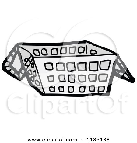 Cartoon of a Shopping Basket - Royalty Free Vector Illustration by lineartestpilot