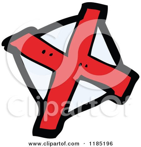 Cartoon of a Red X - Royalty Free Vector Illustration by lineartestpilot