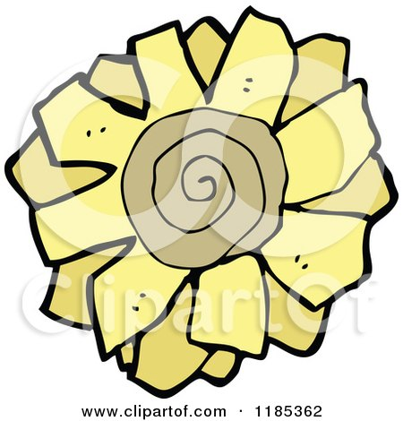 Cartoon of a Sunflower - Royalty Free Vector Illustration by lineartestpilot