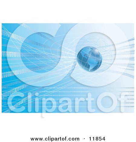 Binary Code Surrounding Blue Earth Clipart Picture by AtStockIllustration