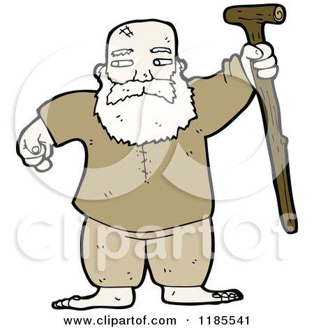 Cartoon of an Old Man with a Old Man Walking Cartoon