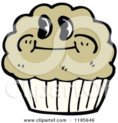 Cartoon Of A Muffin With Face Royalty Free Vector Illustration By
