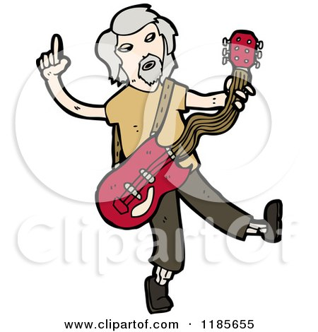 Cartoon of an Older Man Playing a Guitar - Royalty Free Vector Illustration by lineartestpilot