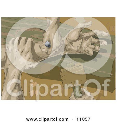 The Hands of Jesus Being Nailed to the Wooden Cross Posters, Art Prints