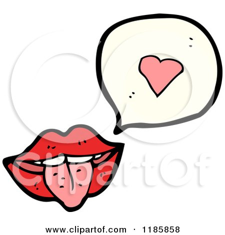 Cartoon of a Mouth and Tongue Speaking of Love - Royalty Free Vector Illustration by lineartestpilot
