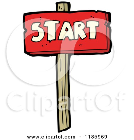 Cartoon of a Wooden Sign with the Word Start - Royalty Free Vector Illustration by lineartestpilot
