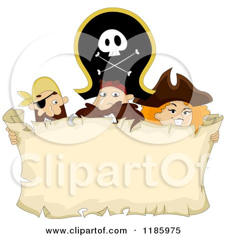 Cartoon of a Pirate Captain and Crew Holding a Parchment Sign - Royalty Free Vector Clipart by BNP Design Studio