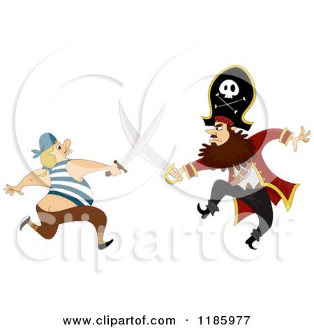 Cartoon of a Pirate Captain Sword Fighting a Man - Royalty Free Vector Clipart by BNP Design Studio