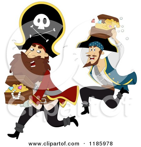 Cartoon of a Pirate Captain and Man Running with Treasure Chests - Royalty Free Vector Clipart by BNP Design Studio