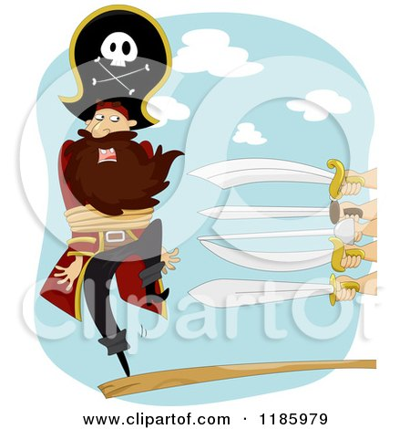 Cartoon of a Peg Legged Pirate Captain Walking the Plank with Swords at One End - Royalty Free Vector Clipart by BNP Design Studio