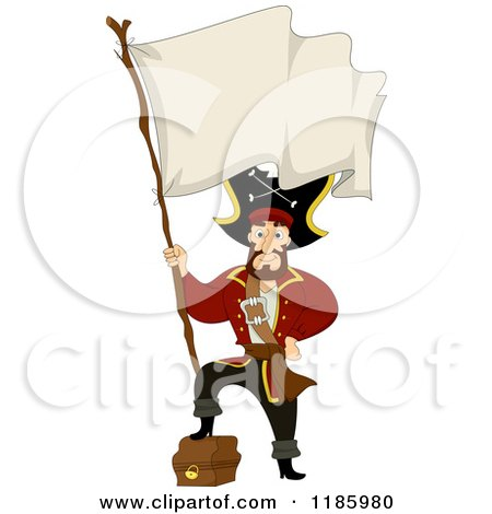 Cartoon of a Pirate Captain Resting His Foot on a Treasure Chest and Holding A Blank Flag- Royalty Free Vector Clipart by BNP Design Studio