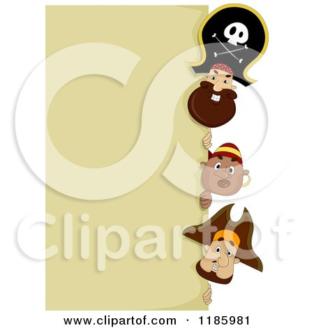 Cartoon of a Pirate Captain and Men Peeking Around a Sign - Royalty Free Vector Clipart by BNP Design Studio
