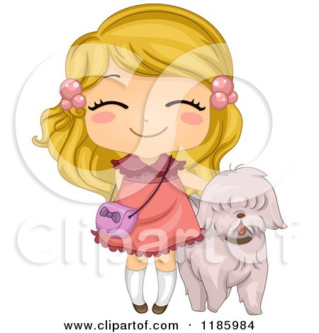 Cartoon of a Cute Blond Girl and Pet Dog - Royalty Free Vector Clipart by BNP Design Studio