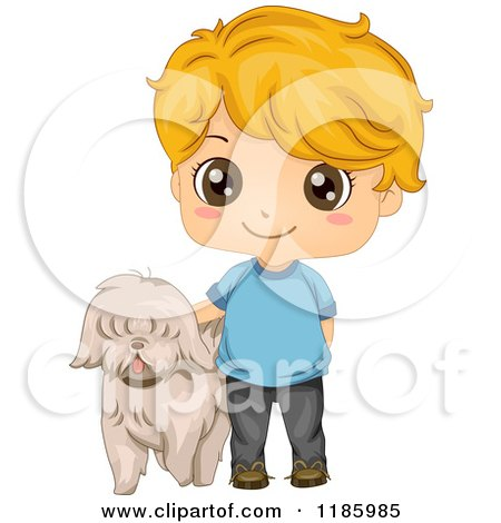 Cartoon of a Cute Blond Boy and Pet Dog - Royalty Free Vector Clipart by BNP Design Studio