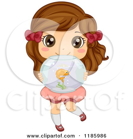 Cartoon of a Cute Brunette Girl Holding a Fish Bowl - Royalty Free Vector Clipart by BNP Design Studio