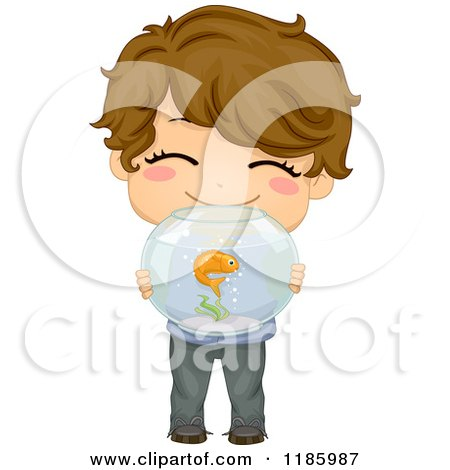 Cartoon of a Cute Brunette Boy Holding a Fish Bowl - Royalty Free Vector Clipart by BNP Design Studio