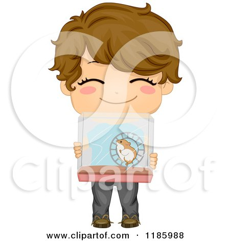 Cartoon of a Cute Brunette Boy Holding up a Hamster Cage - Royalty Free Vector Clipart by BNP Design Studio