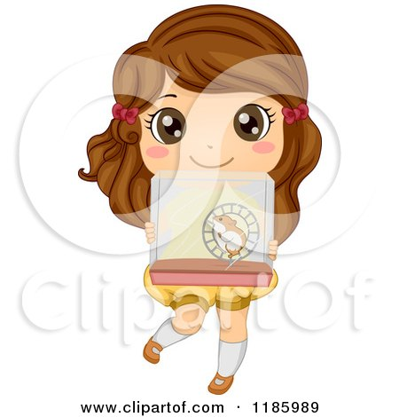 Cartoon of a Cute Brunette Girl Holding up a Hamster Cage - Royalty Free Vector Clipart by BNP Design Studio
