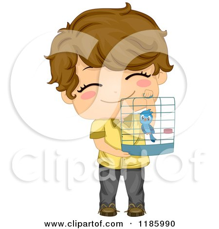 Cartoon of a Cute Brunette Boy Holding up His Bird Cage - Royalty Free Vector Clipart by BNP Design Studio