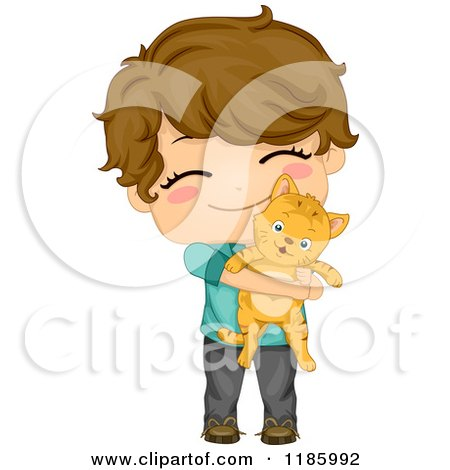 Cartoon of a Cute Brunette Boy Hugging His Cat - Royalty Free Vector Clipart by BNP Design Studio