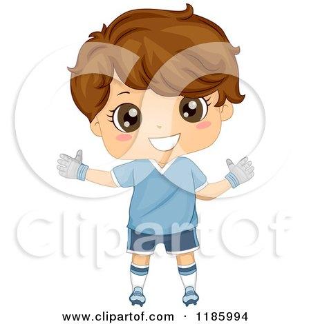 Cartoon of a Happy Brunette Soccer Goal Keeper Boy - Royalty Free Vector Clipart by BNP Design Studio