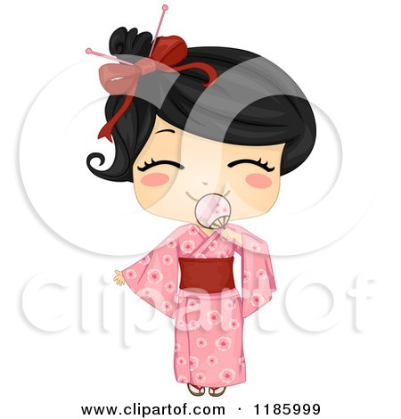 Cartoon of a Cute Japanese Girl Smiling Behind a Fan and Wearing a Traditional Yukata - Royalty Free Vector Clipart by BNP Design Studio