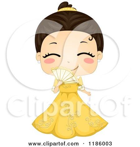 Cartoon of a Cute Filipino Girl Wearing a Traditional Barot Saya - Royalty Free Vector Clipart by BNP Design Studio
