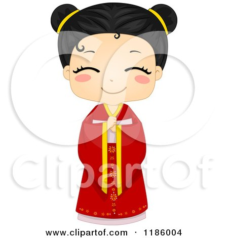 Cartoon of a Cute Chinese Girl in a Traditional Cheongsam - Royalty Free Vector Clipart by BNP Design Studio