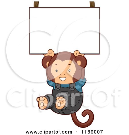 Cartoon of a Student Monkey Hanging from a Sign - Royalty Free Vector Clipart by BNP Design Studio