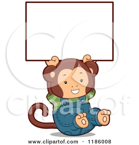 Cartoon of a Student Monkey Holding up a Sign - Royalty Free Vector Clipart by BNP Design Studio