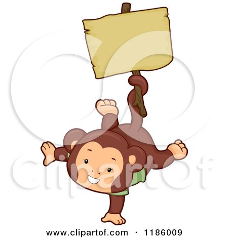 Cartoon of a Cute Monkey Holding a Sign with His Tail - Royalty Free Vector Clipart by BNP Design Studio