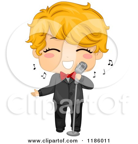 Cartoon of a Cute Blond Boy Singing in a Tuxedo - Royalty Free Vector Clipart by BNP Design Studio