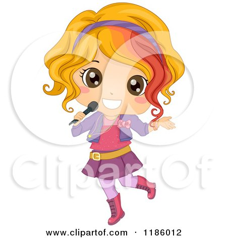 Cartoon of a Blond Female Pop Star Girl with a Microphone - Royalty Free Vector Clipart by BNP Design Studio