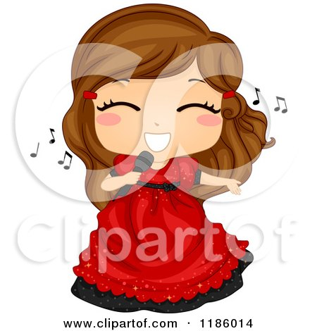 Cartoon of a Cute Brunette Girl Singing in a Red Dress - Royalty Free Vector Clipart by BNP Design Studio