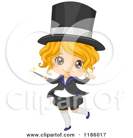 Cartoon of a Happy Blond Magician Girl with a Wand - Royalty Free Vector Clipart by BNP Design Studio