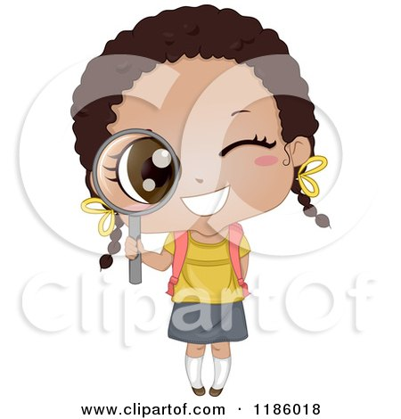 Cartoon of a Happy Black School Girl Peeking Through a Magnifying Glass - Royalty Free Vector Clipart by BNP Design Studio