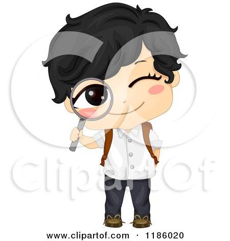 Cartoon of a Happy Asian School Boy Peeking Through a Magnifying Glass - Royalty Free Vector Clipart by BNP Design Studio