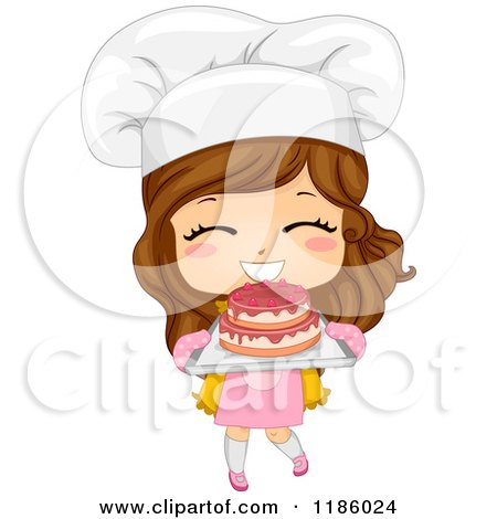 Cartoon of a Cute Brunette Caucasian Baker Girl Holding ...