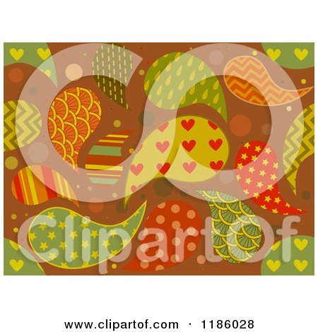 Cartoon of a Seamless Background of Patterned Paisleys - Royalty Free Vector Clipart by BNP Design Studio