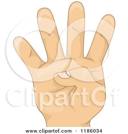 Cartoon of a Kids Hand Counting Number Four - Royalty Free Vector Clipart by BNP Design Studio