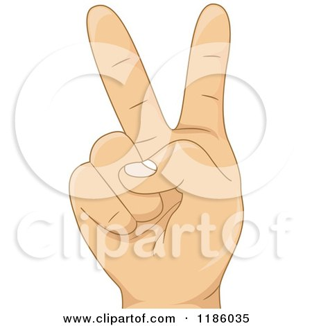 Cartoon of a Kids Hand Counting Number Two - Royalty Free Vector Clipart by BNP Design Studio
