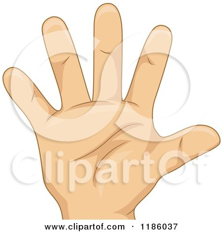 Cartoon of a Kids Hand Counting Number Five - Royalty Free Vector Clipart by BNP Design Studio
