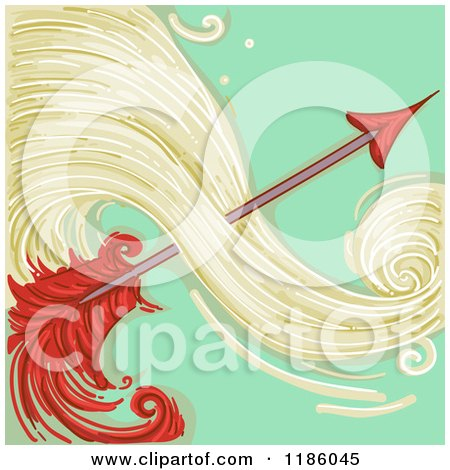 Cartoon of a Red Arrow Saggitarius Horoscope Zodiac Background - Royalty Free Vector Clipart by BNP Design Studio
