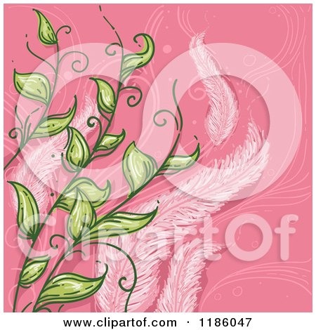 Cartoon of a Feather and Leaf Virgo Horoscope Zodiac Background - Royalty Free Vector Clipart by BNP Design Studio