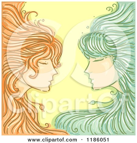 Cartoon of a Twin Gemini Horoscope Zodiac Background - Royalty Free Vector Clipart by BNP Design Studio